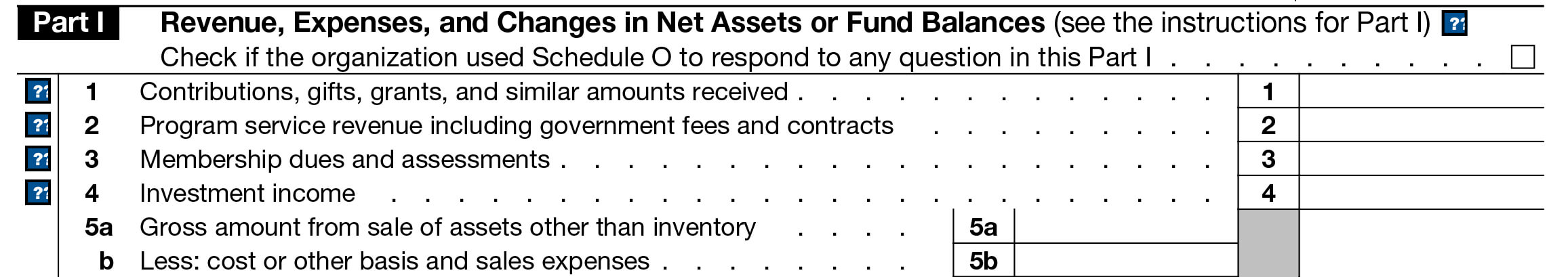 Part 1 - Revenue, Expenses, and Changes in Net Assets or Fund Balances