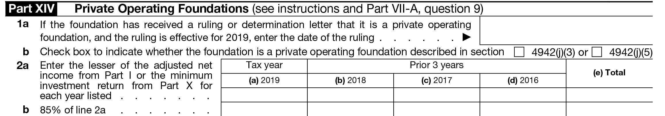 Part XIV - Private Operating Foundations