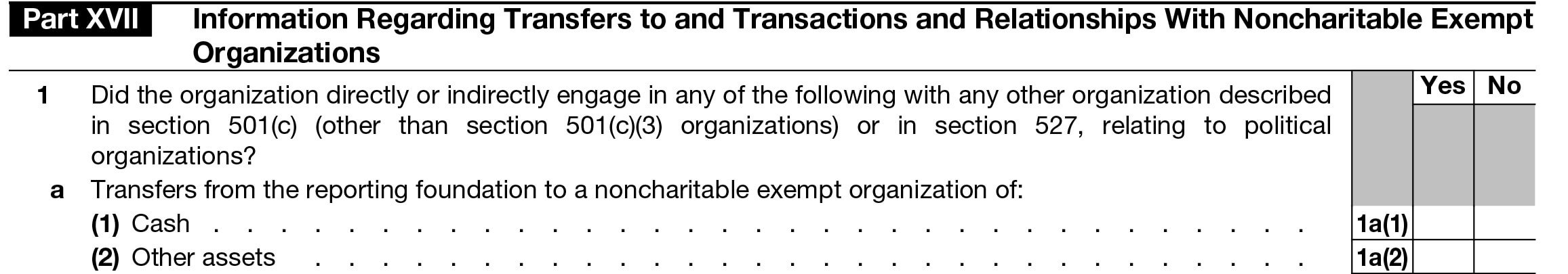 Part XVII. Information Regarding Transfers to and Transactions and Relationships With Noncharitable Exempt Organizations